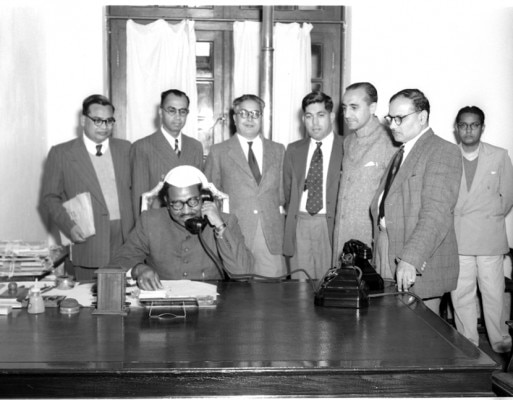 Photo Studio/March,54,A22k A direct radio telephone service between India and Switzerland was inaugurated by Shri Jagjivan Ram, Minister for Communications, Government of India, in New Delhi, on March 1, 1954. The Minister for Communication had conversation over the phone with Shri Y.D. Gundevia, Ambassador for India in Switzerland. Photo shows shir Jagjivan Ram inaugurating the India-Switzerland radio telephone link.