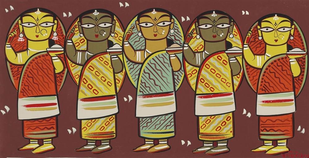 कालीघाट पात स्टाइल में बनी जैमिनी रॉय की पेंटिंग