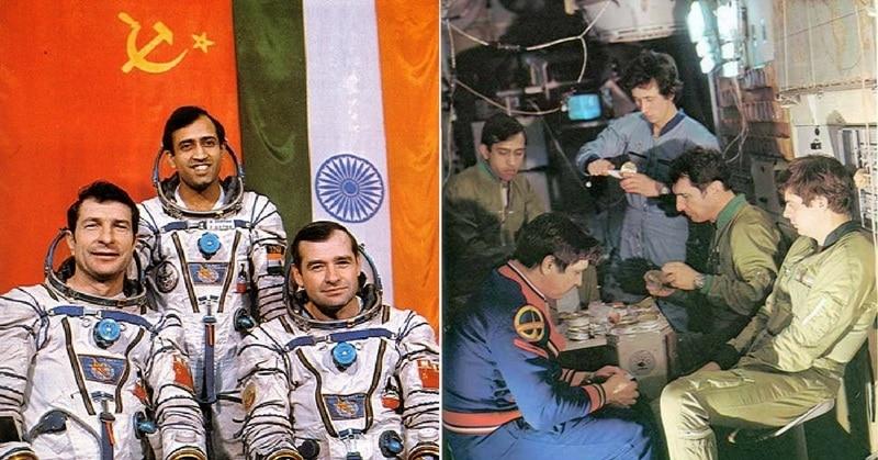 सोयूज़ टी-11 के कॉस्मोनॉट मालिशेव, राकेश शर्मा और स्ट्रेकलॉव. दूसरी फोटो में राकेश सोवियत प्रोग्रैम की ट्रेनिंग लेते हुए. (फोटोः स्पेस पैचेज़/सोवियत विजुअल्स)