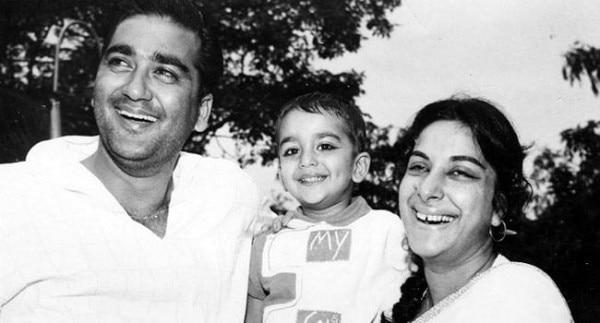 सुनील दत्त और नरगिस बेटे संजय दत्त के साथ.