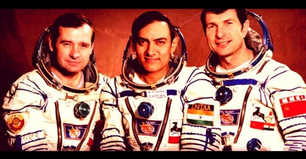 एक फैन मेड चित्र जिसमें राकेश शर्मा के स्थान पर आमिर नजर आ रहे हैं. बाकी दोनों वे ही सोवियत नागरिक हैं जो राकेश के साथ अंतरिक्ष में गए थे.