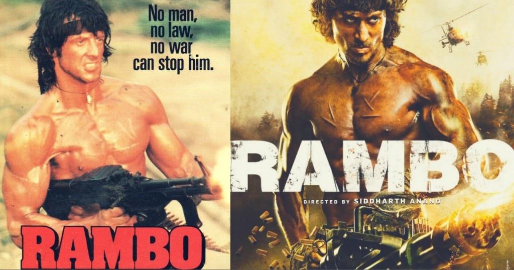 ओरिजिनल रैंब सीरीज में सिलवेस्टर और उसकी हिंदी रीमेक के पहले पोस्टर में टाइगर श्रॉफ.