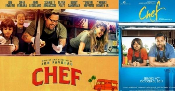 ओरिजिनल फिल्म 'शेफ' और उसके हिंदी रीमेक का पोस्टर.