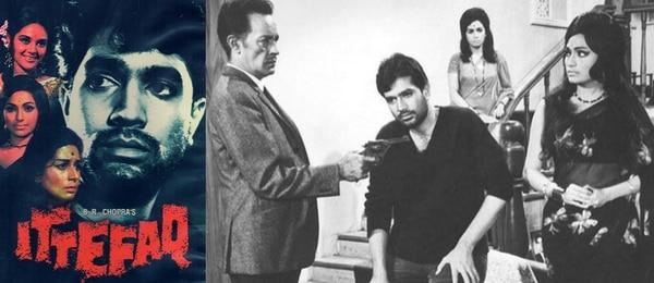 फिल्म 'इत्तेफाक' के पोस्टर और दृश्य में राजेश खन्ना व अन्य कलाकार.