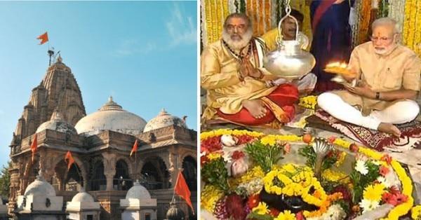 गुजरात टूरिज़्म की वेबसाइट पर हाटकेश्वर मंदिर की तस्वीर (बाएं) और मंदिर के अंदर पूजा करते पीएम मोदी (दाएं)