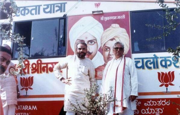 एकता यात्रा के दौरान मुरली मनोहर जोशी और नरेंद्र मोदी