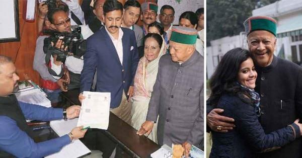 नामांकन के समय पिता वीरभद्र और मां प्रतिभा के साथ विक्रमादित्य. (बाएं) वीरभद्र के साथ अपराजिता (दाएं)