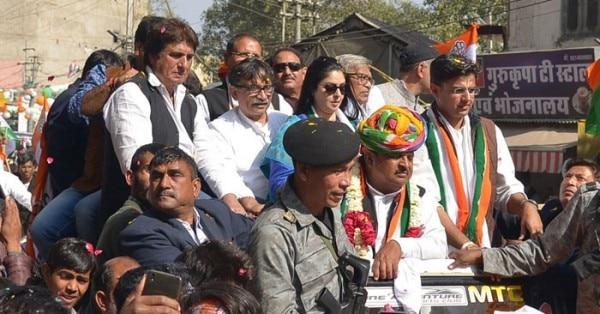 रघु शर्मा के रोडशो में राज बब्बर, नगमा और सचिन पायलट