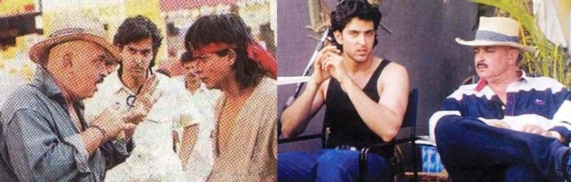 """फिल्म """"कोयला"""" के सेट पर शाहरुख को सीन समझाते डायरेक्टर राकेश रोशन और उन्हें सुनते हुए युवा ऋतिक."""