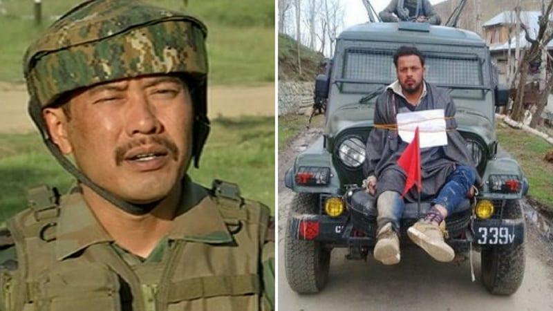 जीप पर कश्मीरी को बांधने वाले आर्मी मेजर गोगोई एक लड़की के साथ हिरासत में लिए गए