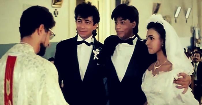 फिल्म 'कभी हां कभी ना' के एक सीन में सुचित्रा कृष्ममूर्ति, शाहरुख खान और दीपक तिजोरी.