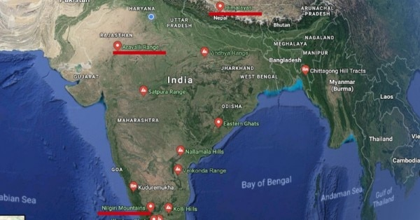 भारत की कुछ प्रमुख पर्वत श्रृंखलाएं (स्क्रीनशॉट - गूगल अर्थ)