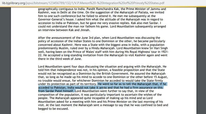 वी पी मेनन की ये किताब बीजेपी की ऑनलाइन लाइब्रेरी पर भी मौजूद है. जिस हिस्से को हाइलाइट किया है, उसमें लिखा है कि माउंटबेटन ने पटेल के नाम से राजा हरि सिंह को आश्वासन दिया था. कि अगर वो पाकिस्तान के साथ जाते हैं, तो भारत को कोई दिक्कत नहीं है.