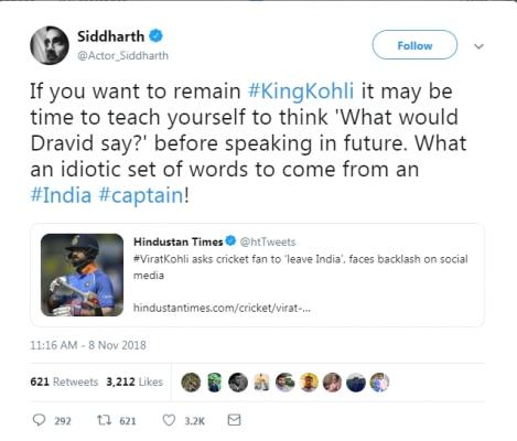 siddharth tweet