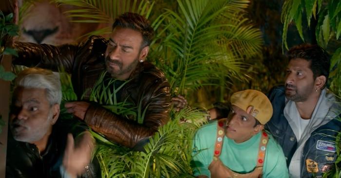 फिल्म के एक सीन में अजय देवगन, संजय मिश्रा, जावेद जाफरी और अरशद वारसी.
