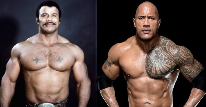 पहली तस्वीर में रॉक के पिता रॉकी जॉन्सन और दूसरी तस्वीर में उनके बेटे ड्वेन.