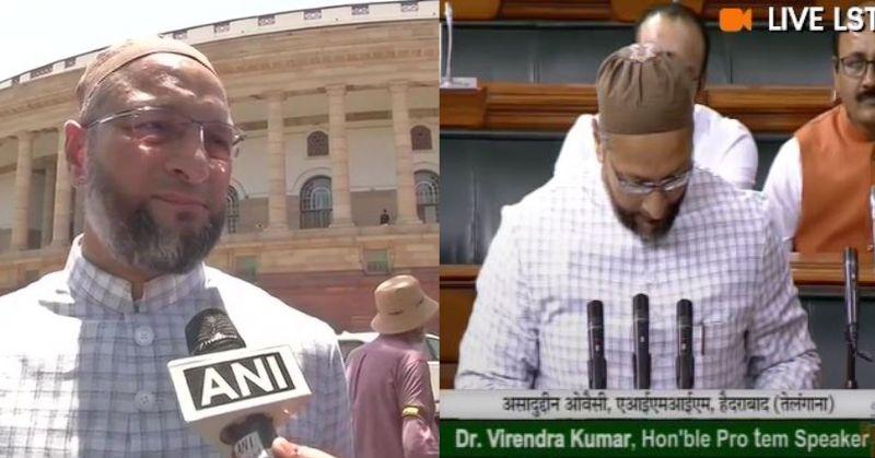 Jai Shri Ram' slogans in parliament when Asaduddin Owaisi takes oath as a member of the Parliament