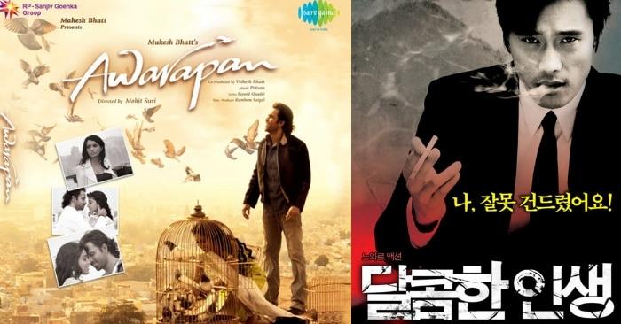 'आवारापन' और कोरियन फिल्म 'अ बिटरस्वीट लाइफ' के पोस्टर्स.