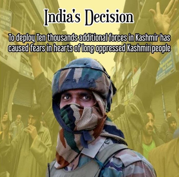 ऐसे कई सारे कार्ड्स शेयर हो रहे हैं सोशल मीडिया पर.  कश्मीर में लोगों को भारत के खिलाफ संगठित होने के लिए कहा जा रहा है (फोटो: ट्विटर)