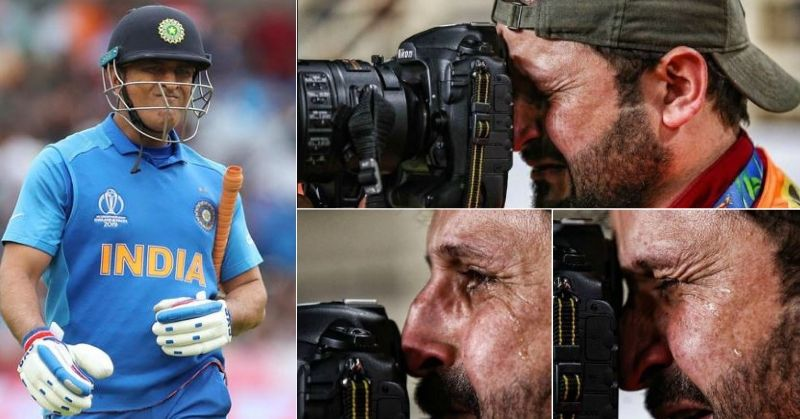 Truth behind the picture circulated on Social media Seemingly cameraman Cries After Getting Dhoni Out In The WC Semifinal