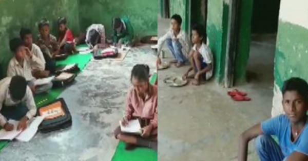 रामपुर के प्राइमरी स्कूल में पढ़ते-खाते बच्चे.