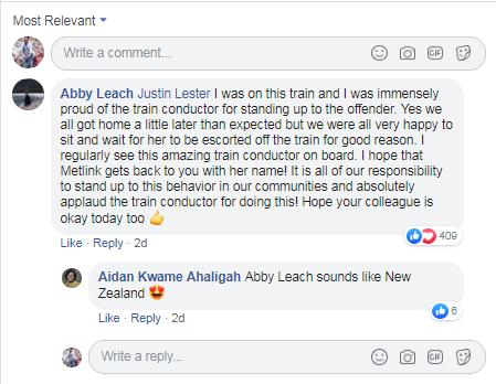 मेयर की पोस्ट पर आए इस कमेंट में भी यही लिखा है कि उसे कंडक्टर पर गर्व है और ट्रेन लेट तो हुई लेकिन इस बात की ज़्यादा ख़ुशी है कि नस्लवादी टिप्पणी करने वाली लड़की को तुरंत सबक सिखाया गया