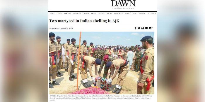 पाकिस्तानी मीडिया के मुताबिक 17 अगस्त के दिन अहमद खान भारतीय गोलीबारी में मारा गया. (डॉन का स्क्रीनशॉट)