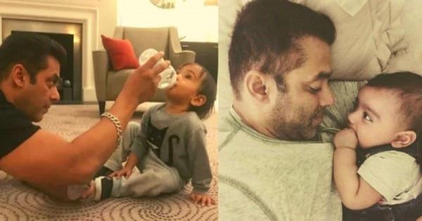 बहन अर्पिता के बेटे आहिल के साथ सलमान खान.