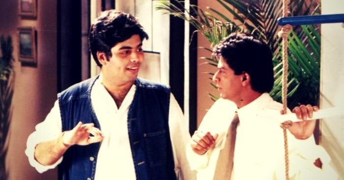 फिल्म 'कुछ कुछ होत है' की शूटिंग के दौरान शाहरुख खान के साथ फिल्म के डायरेक्टर करण जौहर.