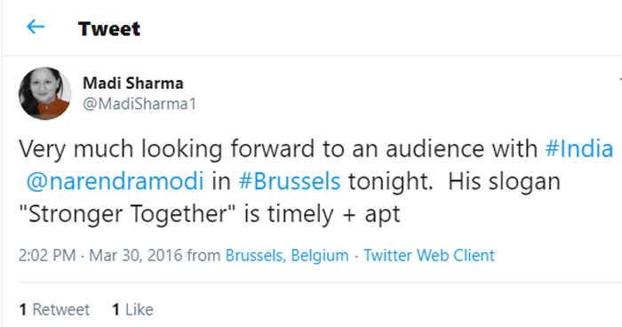 ये तब का ट्वीट है, जब मोदी ब्रसल्स गए थे. ट्वीट में मोदी के प्रोग्राम के लिए रजिस्ट्रेशन करने वाला लिंक दिया गया है (फोटो: Madi Sharma, ट्विटर)