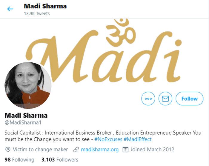 ये है मादी उर्फ़ मधु शर्मा का ट्विटर हैंडल. वैरिफाइड नहीं है. ख़ुद के परिचय में लिखा है- इंटरनैशनल बिज़नस ब्रोकर.