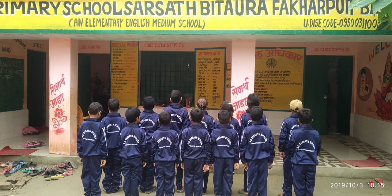 Students with new dress at Bahraich school