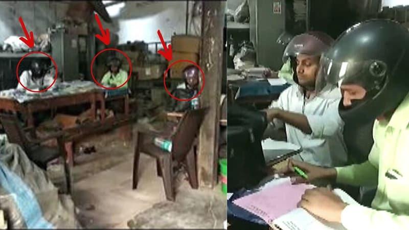 बांदा: सरकारी दफ्तर में कर्मचारी हेलमेट लगाकर काम करते हैं, वजह काफ़ी दुखी करने वाली है