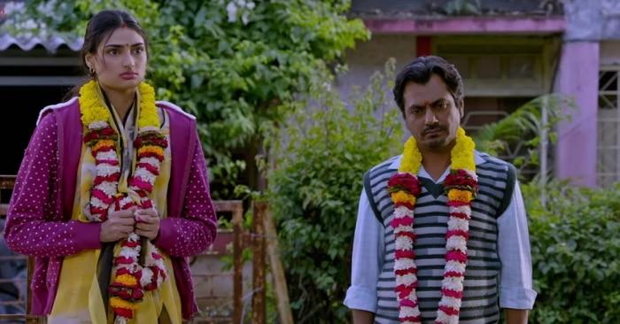 फिल्म 'मोतीचूर चकनाचूर' के एक सीन में नवाज़ुद्दीन सिद्दीकी और अथिया शेट्टी.