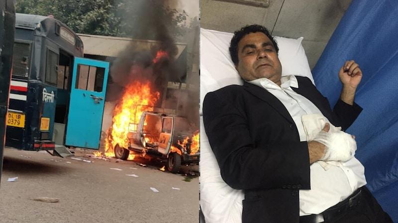 दिल्ली के तीस हजारी कोर्ट में पुलिस और वकीलों के बीच झड़प, गाड़ियां फूंकी