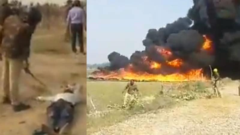 ज़मीन पर पड़े घायल किसान और सबस्टेशन में लगी आग के बीच उन्नाव ज़मीन का पूरा मामला समझिए