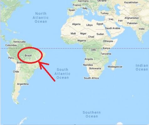ब्राज़ील साउथ अमेरिका महाद्वीप का सबसे बड़ा देश है. साउथ अमेरिका महाद्वीप पर ब्राज़ील की लोकेशन. फोटो: Google Maps