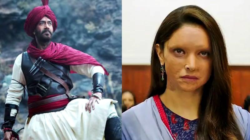 'छपाक' और 'तान्हाजी' की टक्कर से एक का कलेक्शन धूम, दूसरी का धड़ाम