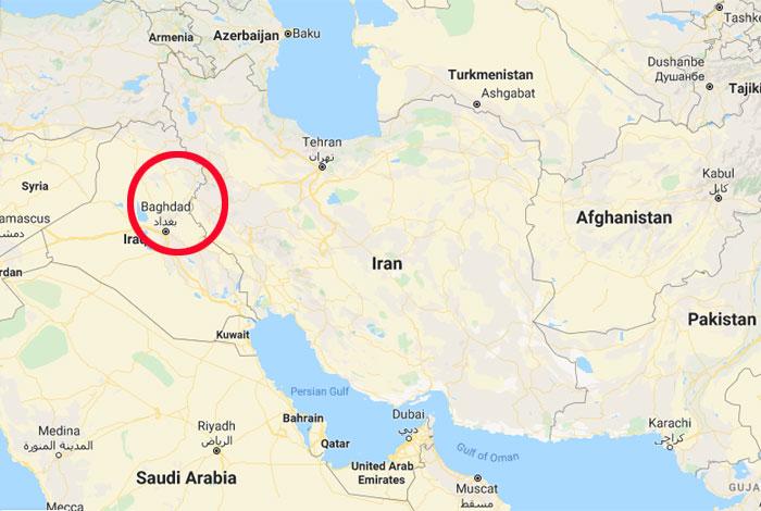 ये हमला 3 जनवरी को बिल्कुल मुंह अंधेरे हुआ. गोल घेरे में इराक की राजधानी बगदाद है. इसी के अंतरराष्ट्रीय हवाई अड्डे पर ड्रोन की मदद से ये अटैक किया गया (फोटो: गूगल मैप्स)