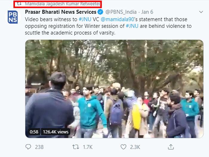 JNU के VC मामिडाला जगदीश कुमार ने इस वायरल वीडियो को री-ट्वीट किया है.