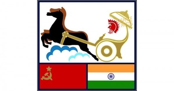 सोयुज़ T 11 का मैस्कॉट. भारत और रूस के झंडे के ऊपर आकाश की ओर जाता रथ. (सोर्स - विकिमीडिया)