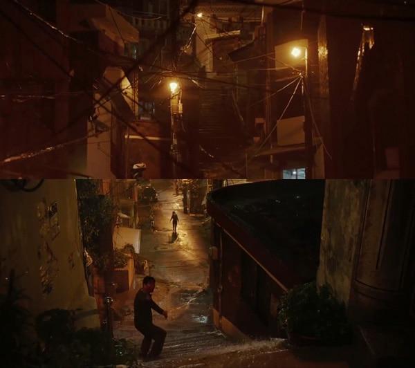 Parasite Movie Bong Joon Ho Rain Scene Stairs Oscars 2020