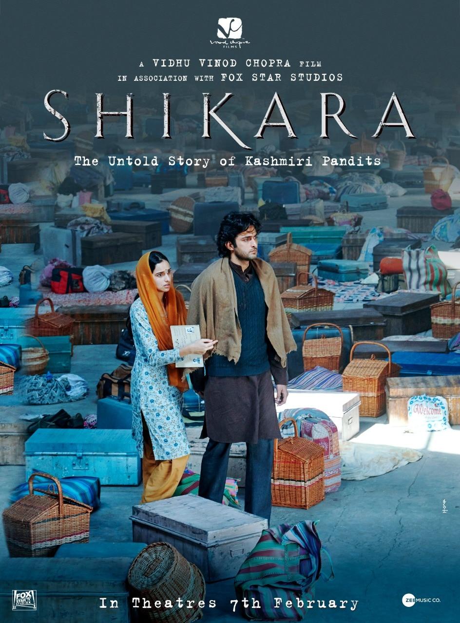 फिल्म 'शिकारा' के पोस्टर पर आदिल खान और सादिया.
