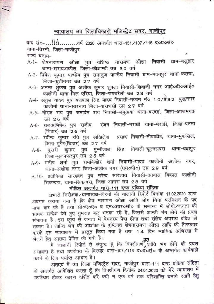 Bail order issued by SDM Sadar Ghazipur