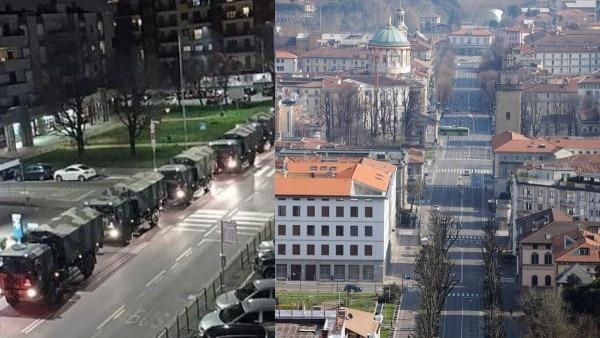 इटली का शहर बरगामो. कोराना वायरस से सबसे ज्यादा प्रभावित इलाकों में से एक है. शवों के अंतिम संस्कार के लिए आर्मी के ट्रकों की मदद ली जा रही है. (बाएं) दूसरी फोटो इसी शहर की है. जहां सन्नाटा पसरा है. (फोटो पीटीआई)
