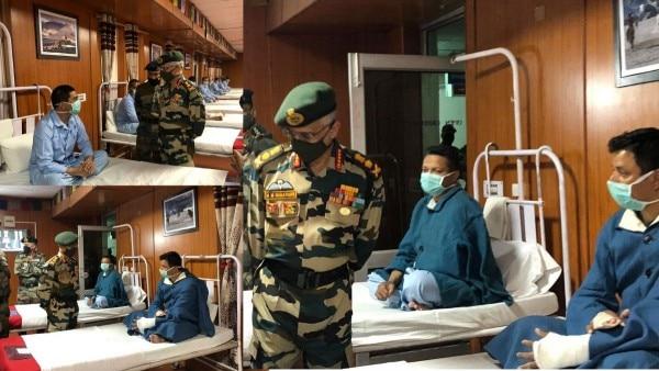 आर्मी चीफ जनरल एमएम नरावने ने लेह में घायल सैनिकों से मुलाकात की.