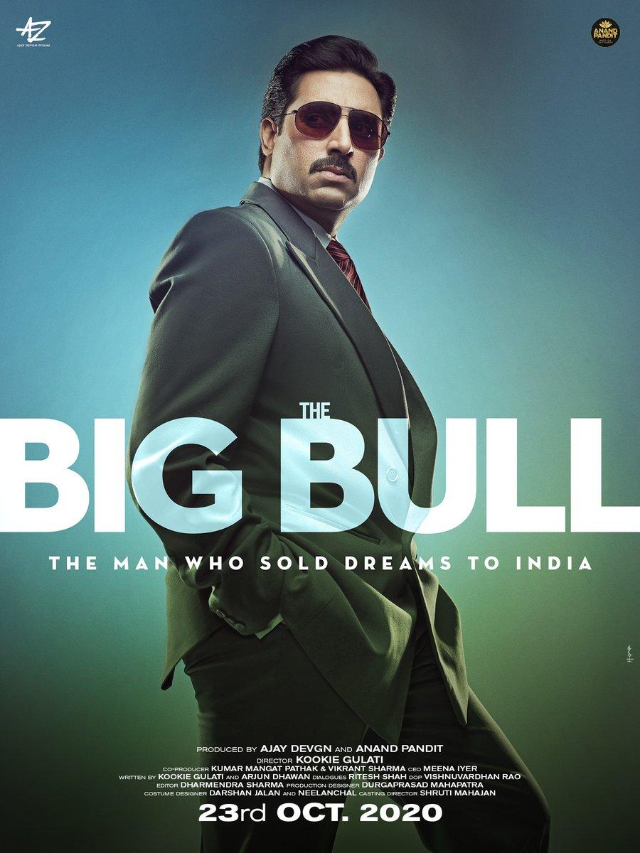'द बिग बुल' के पोस्टर पर अभिषेक बच्चन. इस फिल्म को अजय देवगन प्रोड्यूस कर रहे हैं.