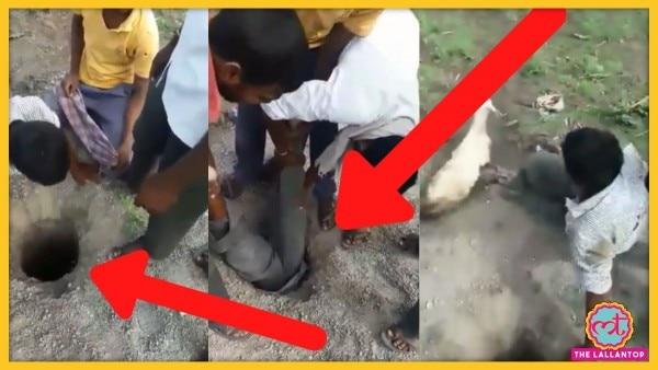बकरी को बचाने के लिए जान की बाज़ी लगाते युवक का वीडियो वायरल