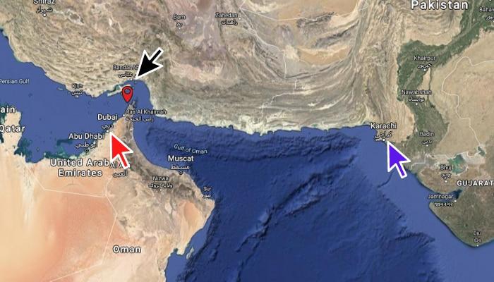 लाल तीर : दुबई. नीला तीर : कराची. काला तीर : ईरान. और बीच में लाल पिन यानी MSV अल-इरफ़ान की आख़िरी ज्ञात लोकेशन.