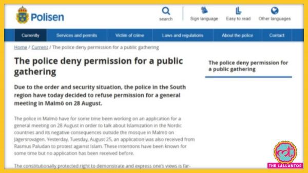 Swiden Police Deny Public Gathering